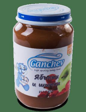 Ганчев Бебешко плодово пюре от ябълки и шипки 190 гр.